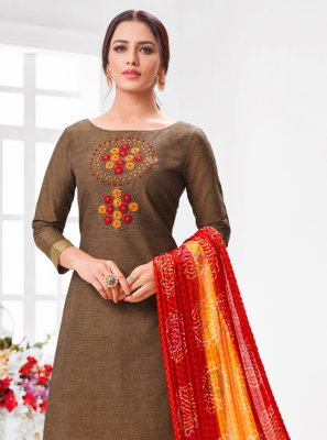 Brown Embroidered Festival Trendy Salwar Suit