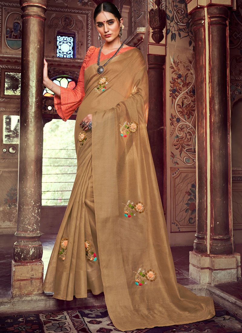 Brown Embroidered Linen Casual Saree