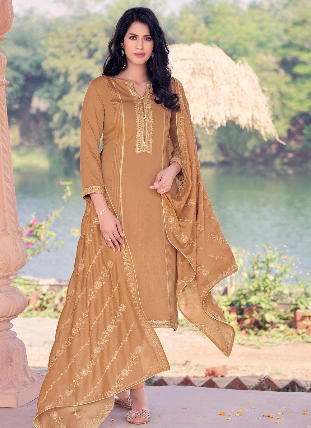 Brown Embroidered Mehndi Pakistani Straight Salwar Kameez