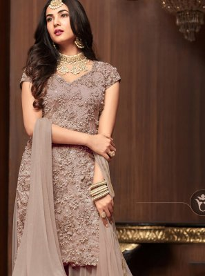 Brown Embroidered Net Salwar Suit