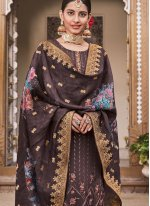 Brown Embroidered Party Salwar Suit