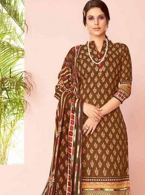 Brown Embroidered Salwar Kameez