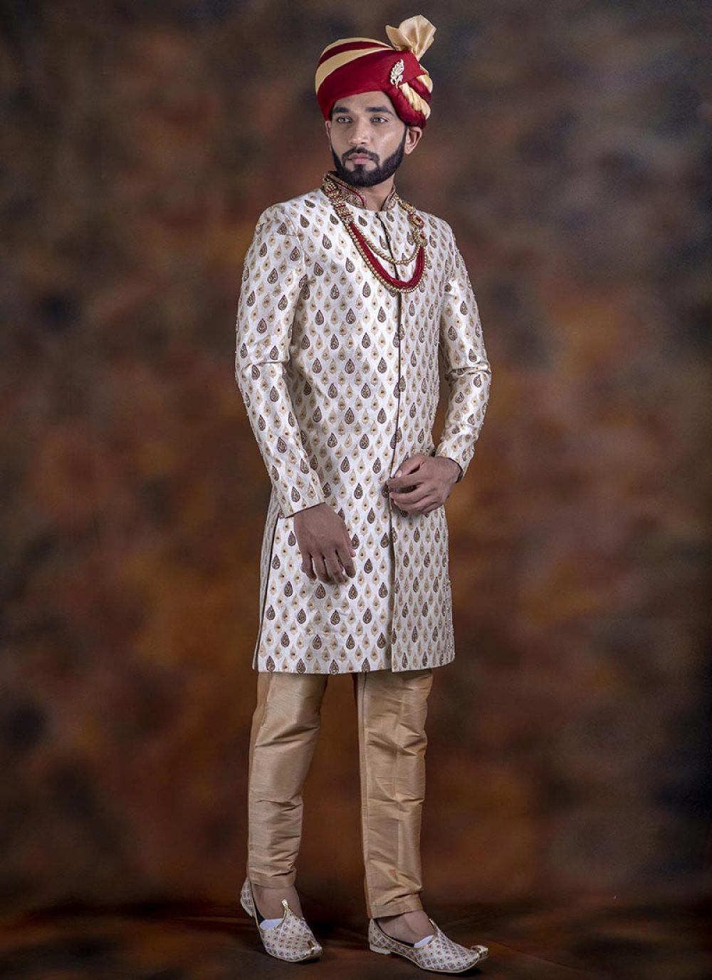 Brown Embroidered Sangeet Indo Western Sherwani