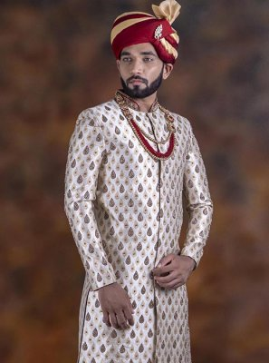 Brown Embroidered Sangeet Indo Western Sherwani