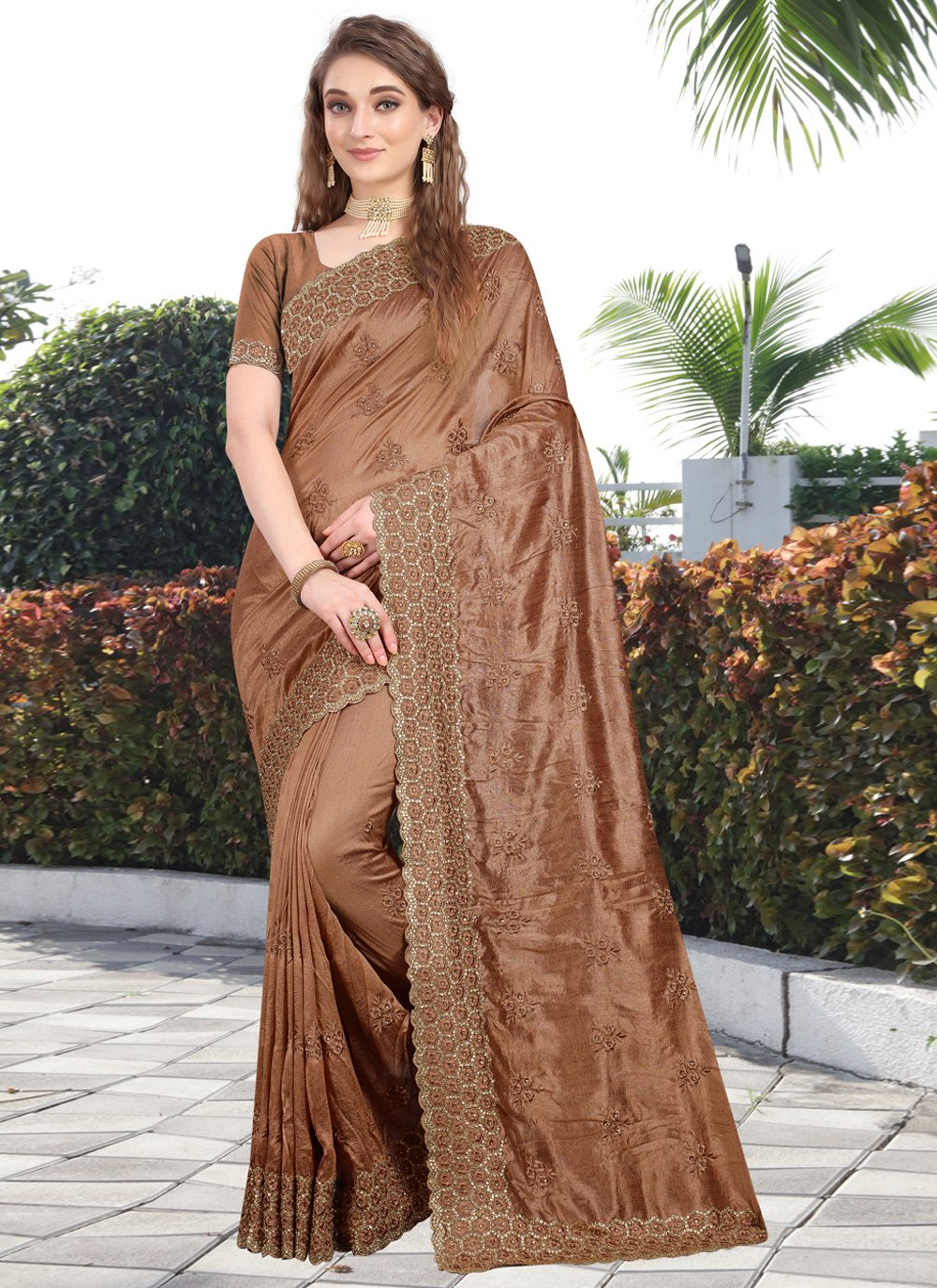 Brown Embroidered Silk Bollywood Saree