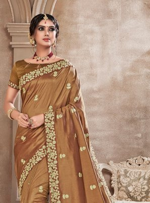 Brown Embroidered Silk Saree