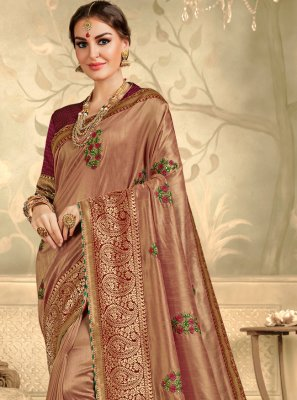Brown Embroidered Trendy Saree