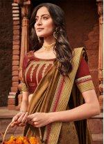 Brown Embroidered Wedding Trendy Saree