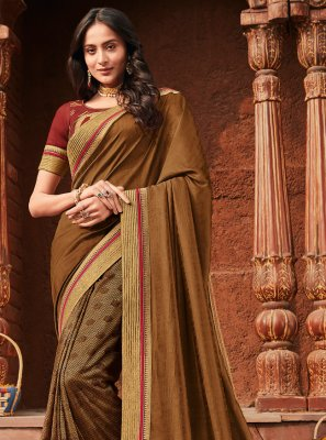 Brown Embroidered Wedding Trendy Saree