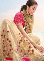 Brown Fancy Fabric Resham Designer Saree