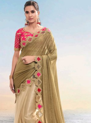 Brown Fancy Fabric Resham Designer Saree