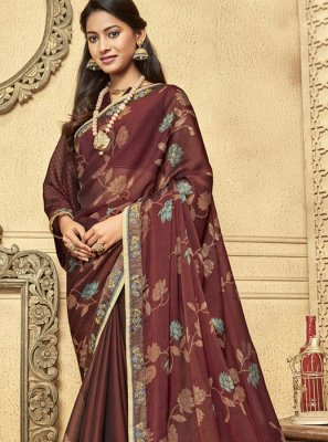 Brown Faux Chiffon Designer Saree