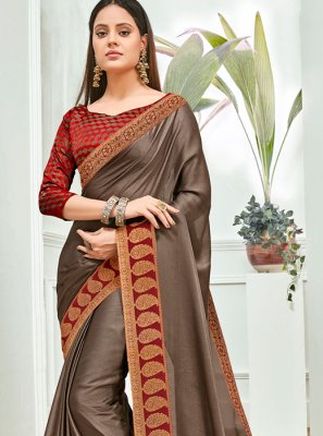 Brown Faux Chiffon Festival Traditional Saree