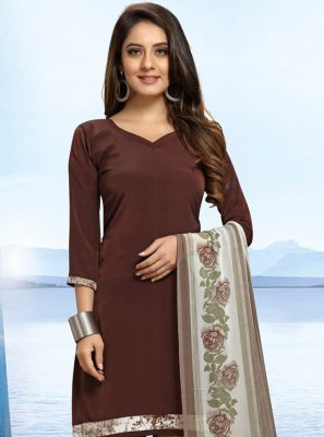 Brown Faux Crepe Bollywood Salwar Kameez