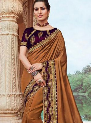 Brown Faux Georgette Classic Saree