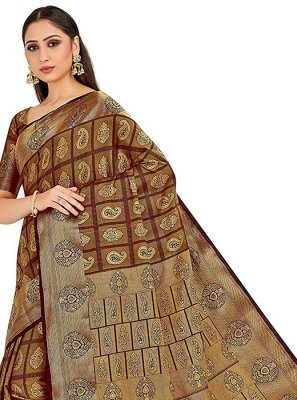 Brown Festival Art Silk Designer Traditional Saree