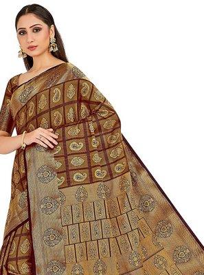 Brown Festival Art Silk Designer Traditional Saree