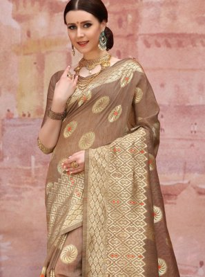 Brown Festival Cotton Designer Traditional Saree