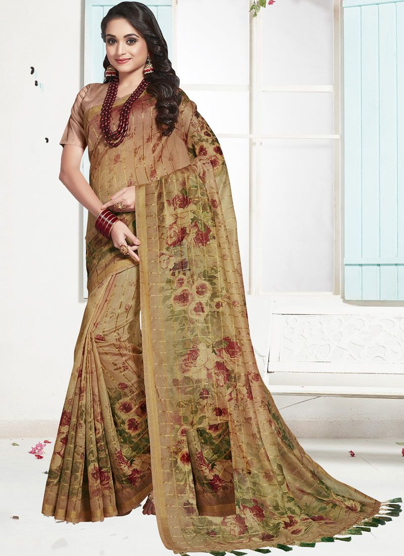 Brown Festival Designer Traditional Saree