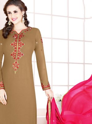 Brown Georgette Designer Salwar Suit