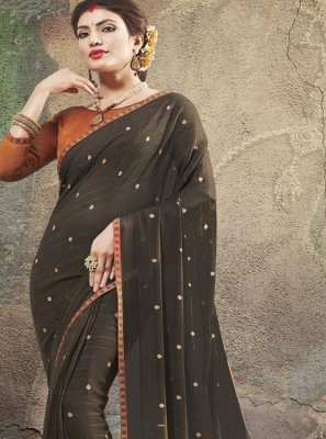 Brown Georgette Designer Saree