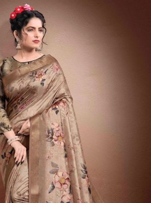 Brown Georgette Digital Print Designer Saree