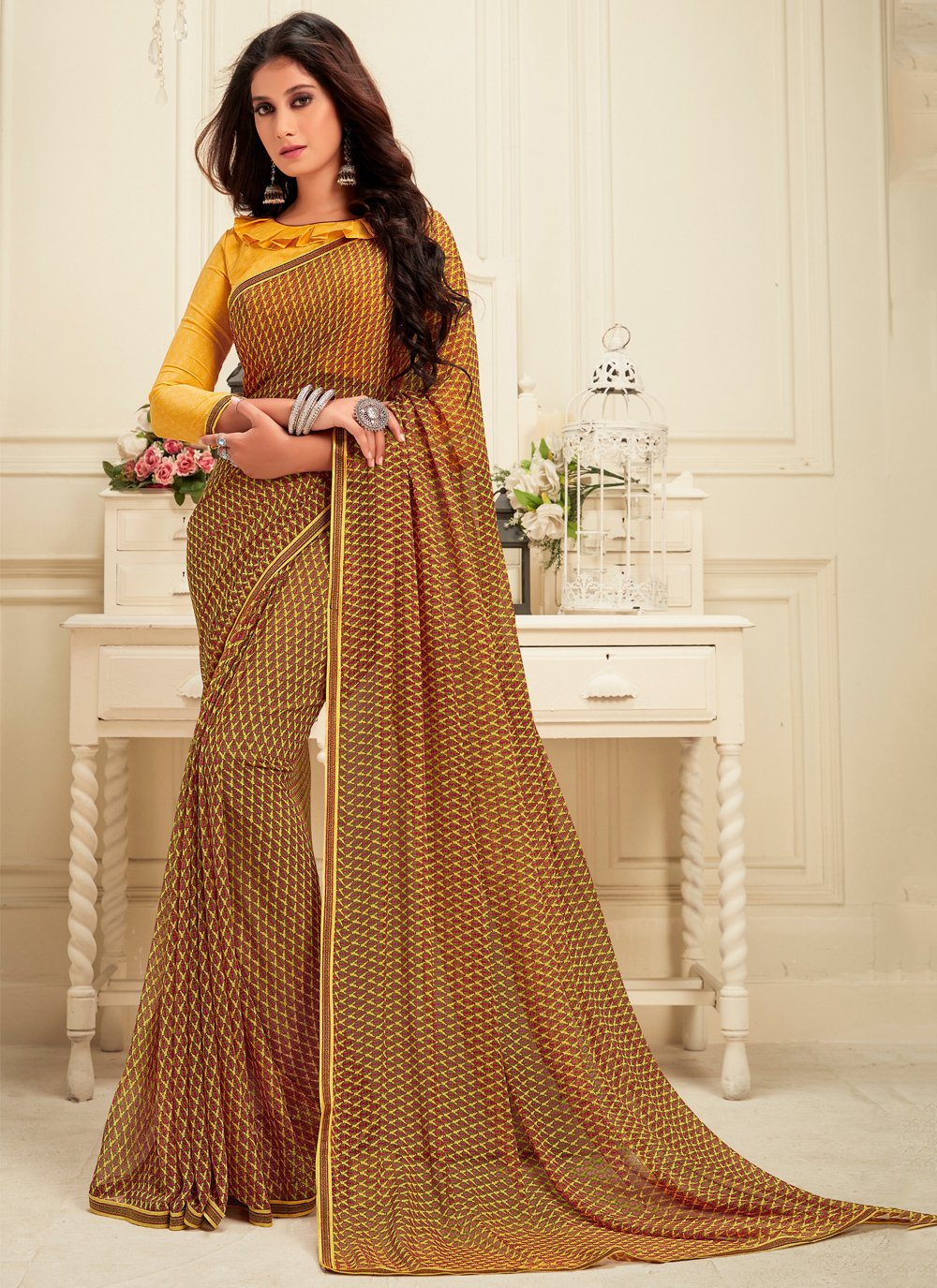 Brown Georgette Party Casual Saree