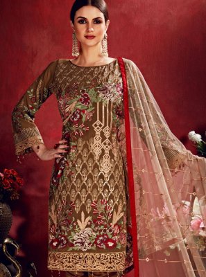 Brown Georgette Sangeet Salwar Suit
