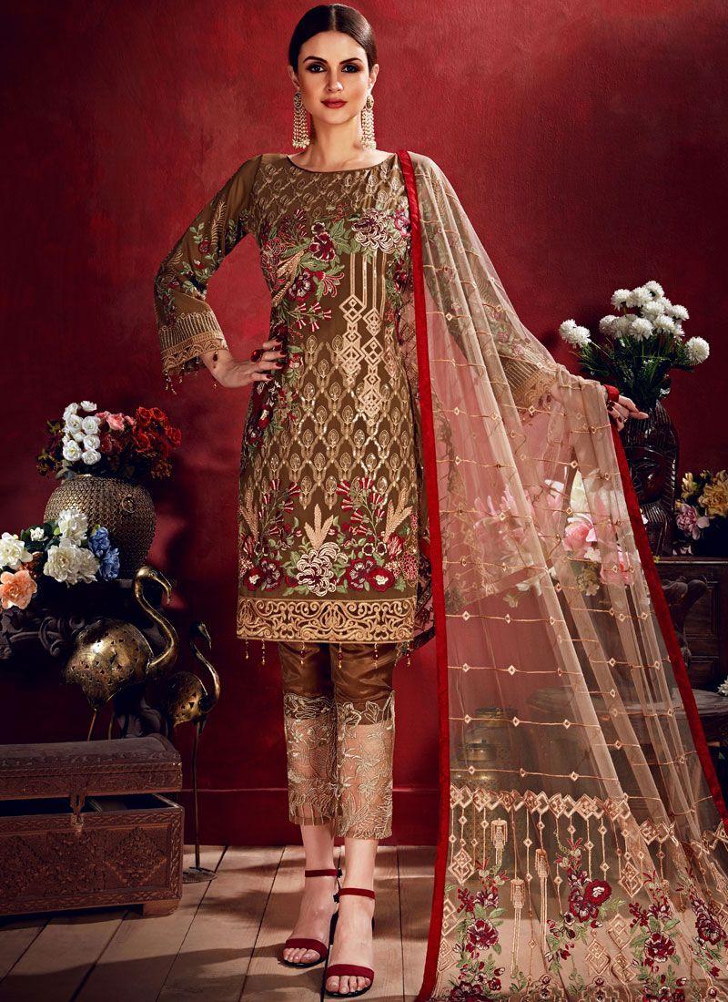 Brown Georgette Sangeet Salwar Suit