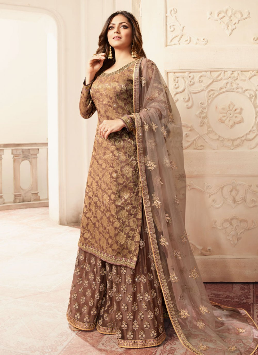 Brown Jacquard Embroidered Palazzo Salwar Kameez