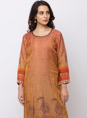 Brown Jacquard Festival Party Wear Kurti