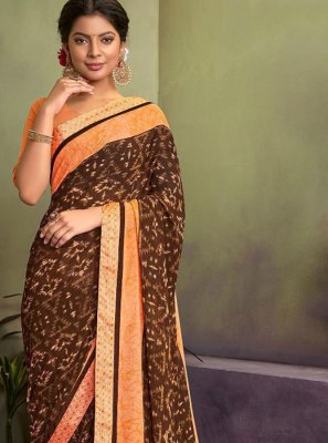 Brown Lace Classic Saree