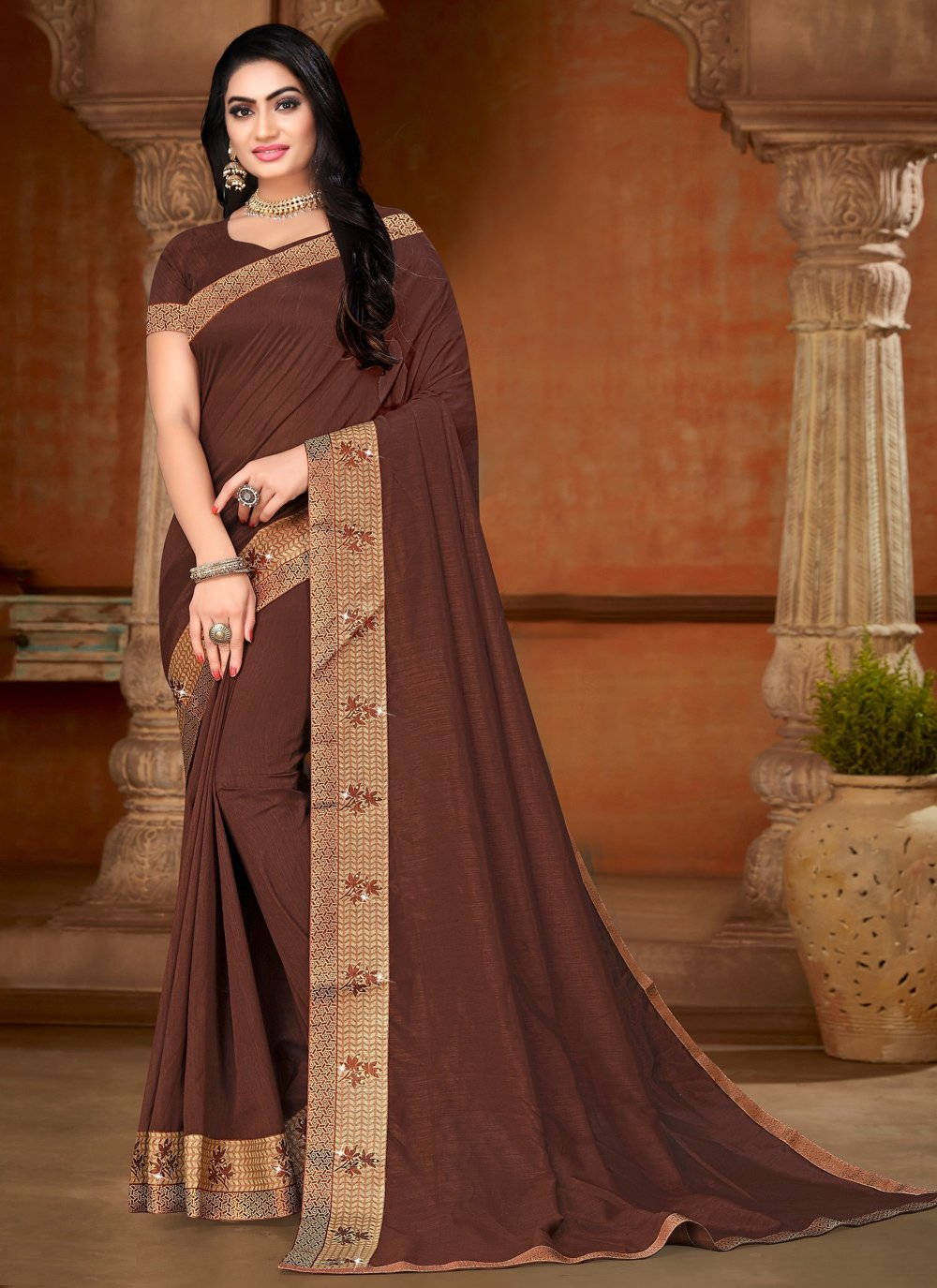 Brown Lace Silk Trendy Saree