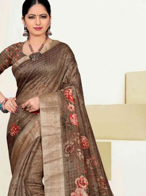 Brown Mehndi Cotton Traditional Saree