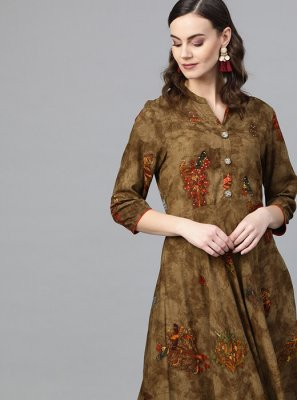 Brown Mehndi Party Wear Kurti