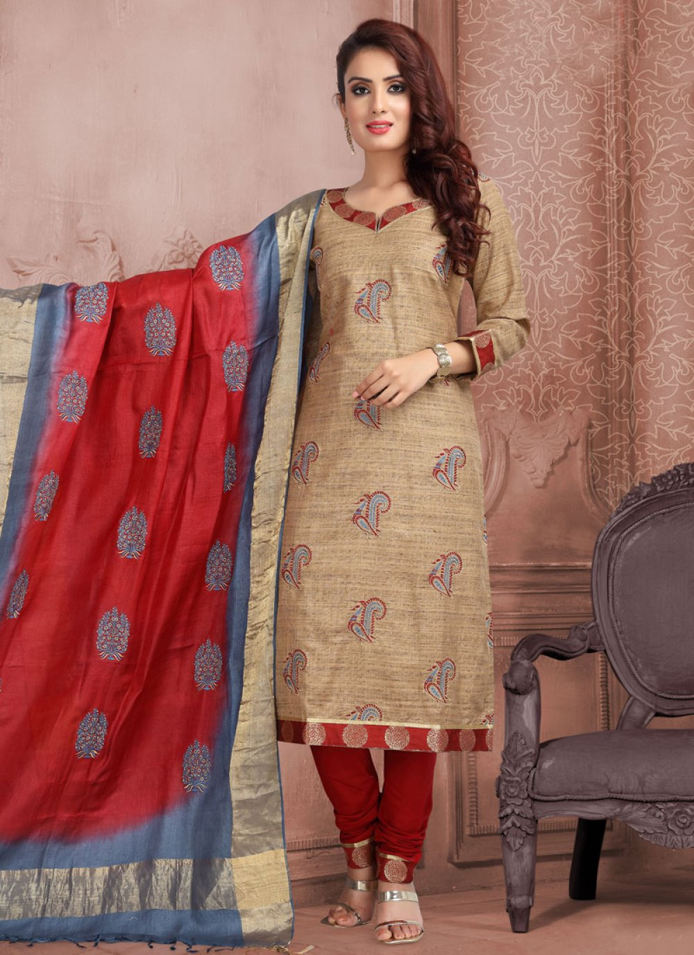Brown Mehndi Trendy Churidar Salwar Suit