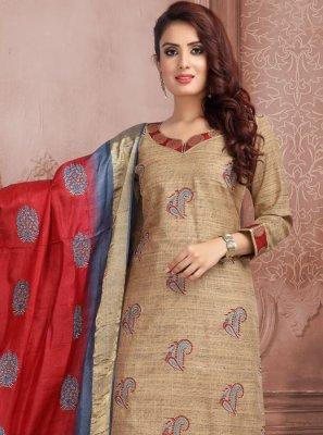 Brown Mehndi Trendy Churidar Salwar Suit