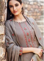 Brown Muslin Trendy Salwar Suit