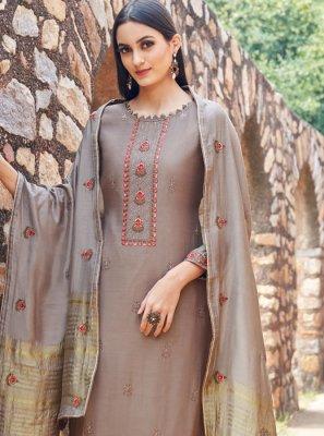 Brown Muslin Trendy Salwar Suit