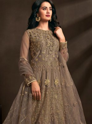 Brown Net Designer Gown