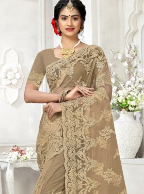 Brown Net Party Classic Saree