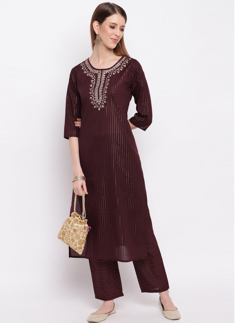 Brown Party Cotton Silk Designer Kurti