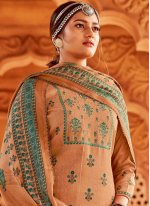 Brown Party Pashmina Palazzo Suit