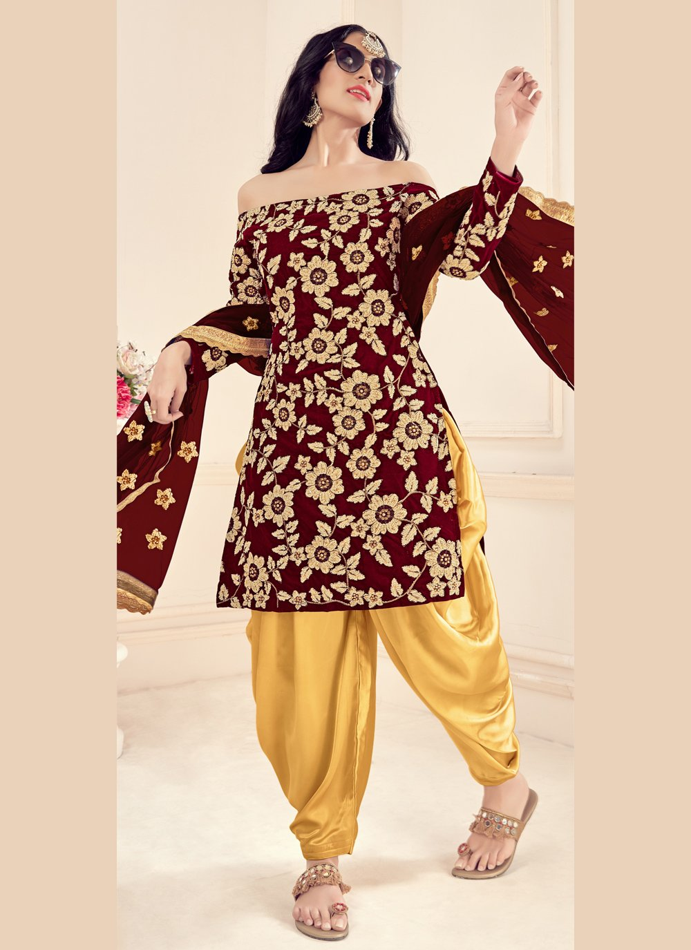 Brown Party Patiala Suit