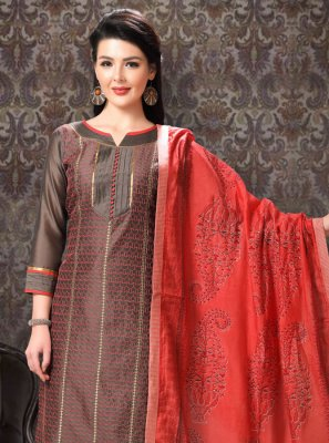 Brown Party Silk Designer Salwar Suit