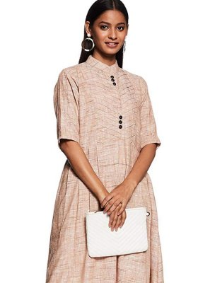 Brown Plain Casual Casual Kurti