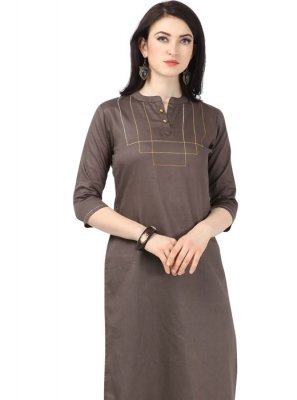 Brown Plain Cotton Casual Kurti