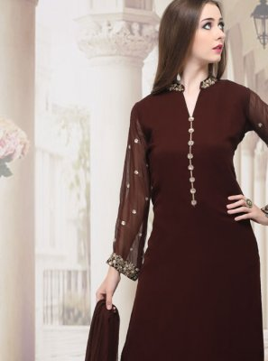Brown Plain Faux Georgette Palazzo Salwar Kameez