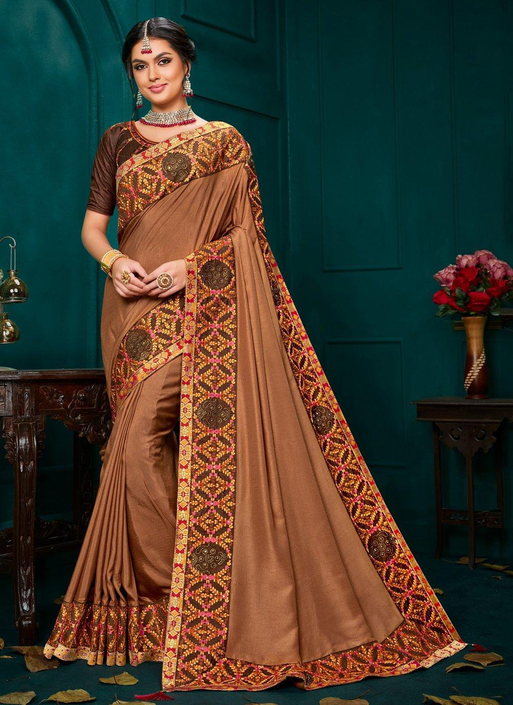 Brown Poly Silk Classic Designer Saree