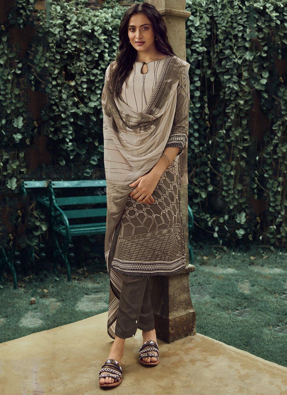 Brown Printed Casual Pakistani Salwar Suit
